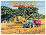 New Holland. Moder tractor and combine harvester. Harvesting crop with tractors, corn, barley etc. Hay. For house, farm, pub or bar. Large Metal/Steel Wall Sign