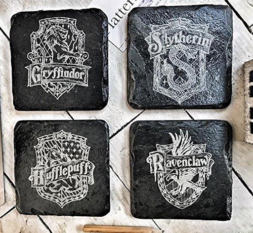 Harry-Potter-Slate-Coaster-Collection-Novelty-Gift-for-Harry-Fans-Set-of-4-Engraved-House-Symbols