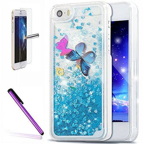 """Newstars Coque pour iPhone 6S/6 Coque liquide Design créatif Paillettes flottantes en forme d'étoile et de cœur Transparent 11,9cm (4,7"""") + 1écran en verre trempé + 1stylet Butterfly : Sky blue"""
