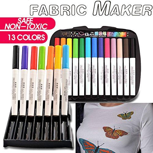 Yalulu 13 Farben Textilmarker Textilfarbe Stoffmalstifte Textil-Marker Textilstifte Permanentmarker Kleidung T-Shirt Marker
