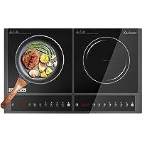 Karinear Plaque induction 2 feux - Tables de cuisson à induction avec contrôle bouton, arrêt automatique, Minuterie…