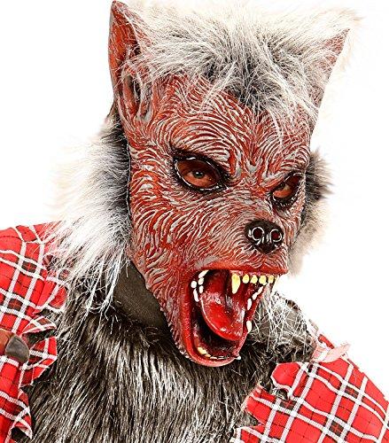 Widmann wid00383-Maske halbe Gesicht mit Haar Herren Wolf, Pink, Einheitsgröße