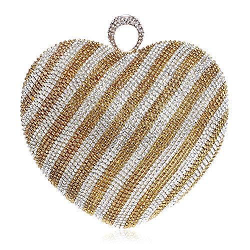 Diamant-Herz-Farbverlauf Abendessen Tasche Mode Brautkleid Bankett Clutch (Color : Gold, Size : XS)