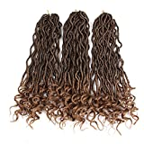 Eunice Faux Locs Crochet Hair 20'' Curly Goddess Locs Crochet Hair with Curly Ends Wavy Faux Locs Crochet Braids Synthetic Hair Extensions Dreadlocks Crochet Loc Synthetic Braiding Hair