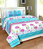 #2: Homefab India 140 TC 3D Floral Double BedSheet with 2 Pillow Cover - MultiColor