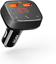 Roav by Anker, SmartCharge F0 FM Transmitter/Bluetooth Receiver/Car Charger with Bluetooth 4.2, 2 USB Ports, PowerIQ, and AUX