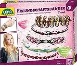 Lena 42691 - Bastelset Freundschaftsbänder knüpfen Trend, Komplettset zum Flechten von trendigen Armbändern mit 50 m Kordeln in 7 Farben und vielen Fädelperlen, Knüpfset für Kinder ab 6 Jahre