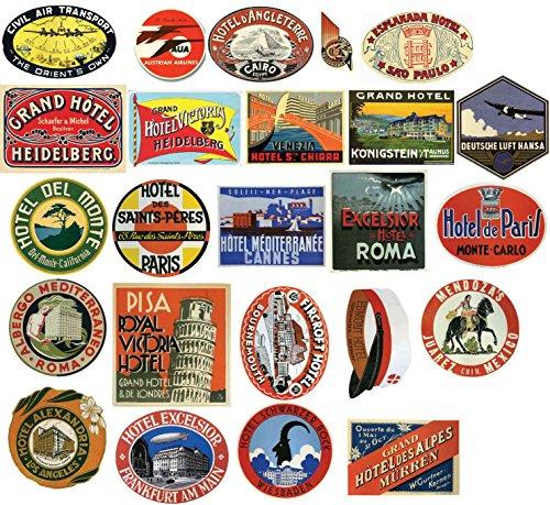 dd9e279951f4d Vintage hotel Luggage Label – Confezione di 24 adesivi valigia da viaggio  in PVC adesivi di