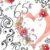 twizler Karte für 65. Geburtstag mit Silber folieren, Einzigartige Wasserfarben Effekt und Herz–65Jahre–Alter 65Geburtstag Karte