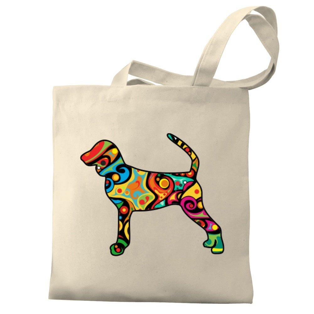 Eddany Psychedelic Black and Tan Coonhound Canvas Tote Bag