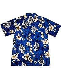 """Chemise Hawaienne Homme """"Classic Flowers (blue)"""" 100% coton, taille M – 3XL, bleu"""