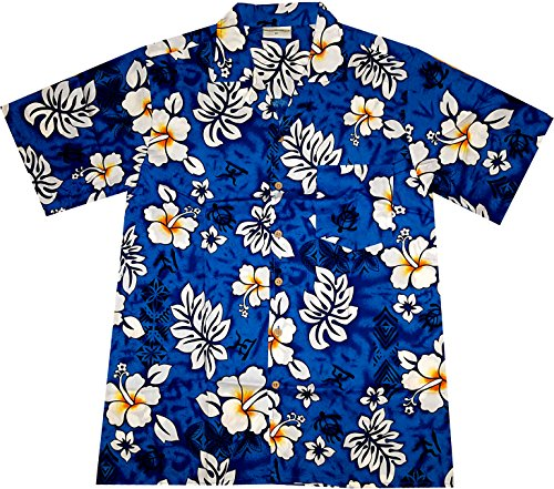 Hawaiian-Shirt-Classic-Flowers-blue-100-cotton-size-M--3XL