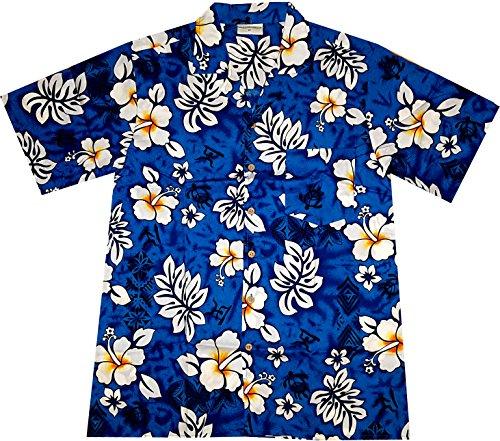 Camisa-Hawaiana-Hombre-Classic-Flowers-blue-100-algodn-tamao-2XL
