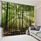 Wapel 3D Blackout Vorhänge Die Sonne Scheint in Den Wäldern Weiche und Atmungsaktive UV-Schutzvorhänge Für Wohnzimmer Dekoration H215 * W260cm