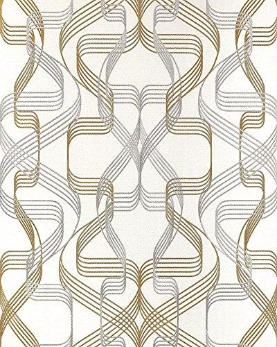 Grafik-Tapete EDEM 507-20 Designer Tapete strukturiert mit abstraktem Muster und metallischen Akzenten signal-weiß perl-gold silber 5,33 m2