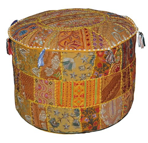 Indien Pouf Tabouret Vintage Patchwork embelli avec Patchwork Salon ottoman couverture, 58 x 33 cm