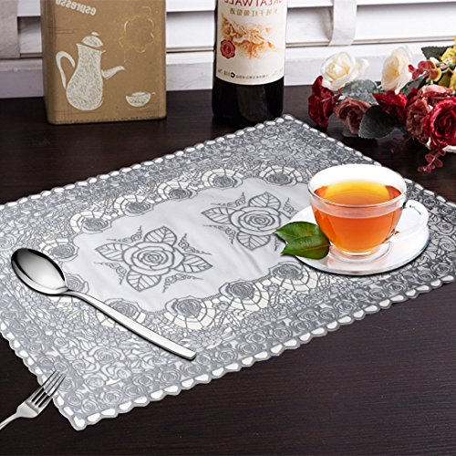 Yellow Weaves™ 6 Piece Dining Table Placemats - Silver
