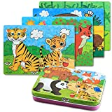 BBLIKE Jigsaw Wooden Puzzles Toy in a Box for Kids, Pack of 4 with Varying Degree of Difficulty Educational Learning Tool Best Birthday Present for Boys Girls (Animal) - BBLIKE - amazon.co.uk