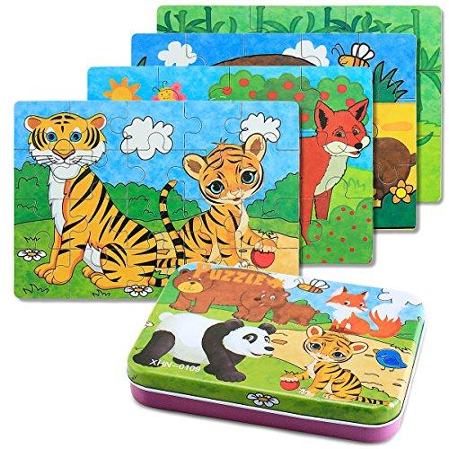 BBLIKE Kinderpuzzle, 64PCS Puzzle für Kinder, Vier schwierigkeitsgrade Lernspielzeug Spiel für Kinder 3 4 5 Jahren Alt (Giant Panda)