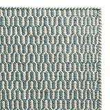 """URBANARA Teppich """"Overod"""" - 100% Woll-Baumwoll-Mischung, Türkis/Eierschale im geometrischen Design - 140 x 200 cm. Moderner Woll-Teppich fürs Schlafzimmer, Wohnzimmer, Esszimmer etc."""