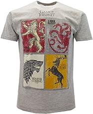 T-shirt Originale Games of Thrones Trono le 4 casate Grigia Split Art Trono di Spade con cartellino ed etichetta di originalità (L adulto)