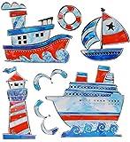 Unbekannt 7 TLG. Set 3-D Wandtattoo / Fensterbild / Sticker - Schiffe & Leuchtturm Mosaik - wasserfest - Boot Schiff Maritim Seefahrt Bad Fliesen - Wandsticker Aufklebe..