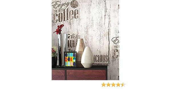 NEWROOM Holztapete Papiertapete Braun Aufschrift alte Werbung Café Grau Natur 3D