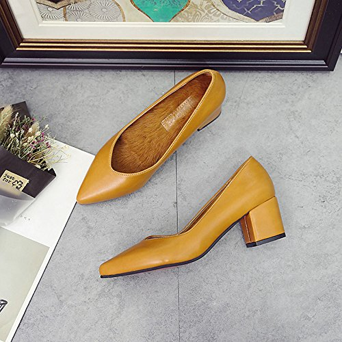 Dimaol Chaussures Femmes Pu Printemps Confort Talons Bas Talon Bout Rond Pour Amande Décontractée Noir Marron Marron