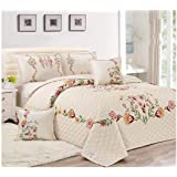 Floral Compressed 4Pcs Comforter Set By Moon, Single Size, Px-003, Off White, Microfiber