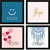 RAG28 Set of 4 Framed Painting/Poster - Size 9 X 9 Inches Each (6032) - Frame Black