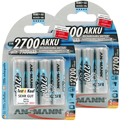 ANSMANN AA Rechargeable Batteries 2700mAh High-capacity High-rate Rechargeable NiMH AA Battery For Flashlight Etc. (8-Pack)
