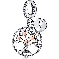 Ciondolo a forma di albero della vita, in argento Sterling 925 placcato oro rosa, da donna, gioiello fai da te e Argento…