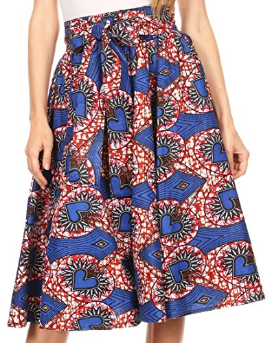 Sakkas W060 - Adisa Ankara Afrikanisches Wachs Print Culotte Hose Bunt mit elastischer Taille - Blau / Rot - OS (Cotton Culotte)