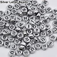YSHtanj Puzzles & Magic Cubes Beads 100 Pcs Spacer Acrylic Beads Cube Alphabet Letter Bracelet Jewelry Making DIY - Silver Letter Beads