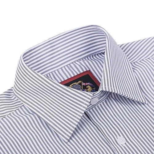 Janeo British Apparel di marca, Classic Windsor belle uomo camicia a righe, singolo e doppio polsino manica–Janeo mens Shirts Grey (Single)