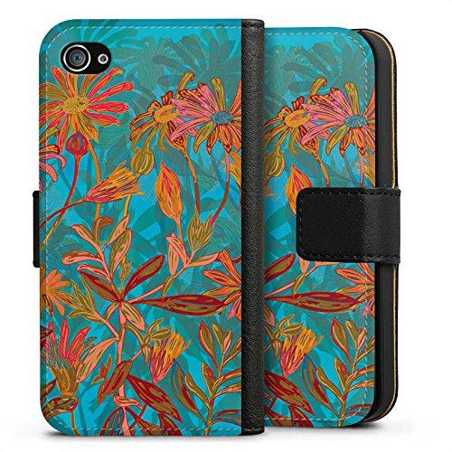 Apple iPhone X Silikon Hülle Case Schutzhülle Herbstblumen Blumen Muster Sideflip Tasche schwarz