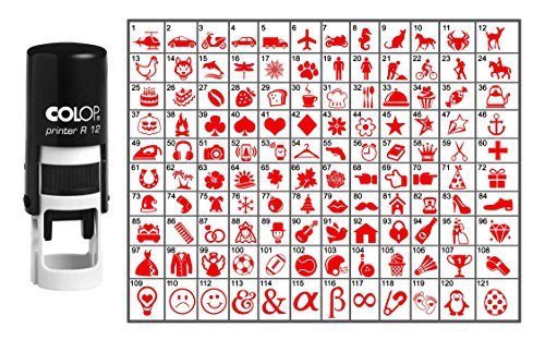 Wählen Sie Ihre Personalisierte Symbol Runde Stempel Selbst Inking COLOP Mini Stamper 12 mm- Red Ink