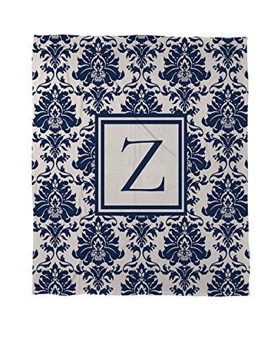 Manuelle holzverarbeiter & Weavers Bettbezug, Queen/Full, Monogramm Buchstabe Z, Damast blau