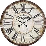 Wanduhr - Hotel Hayward - Holz Küchenuhr mit großem Ziffernblatt aus MDF, Retro Uhr im angesagtem Shabby Chic Design mit leisem Quarz-Uhrwerk, Ø: 34 cm