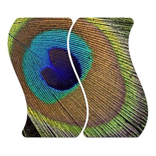 DekoGlas Herdabdeckplatten Set inkl. Noppen aus Glas 'Pfau-Feder-Auge', Herd Ceranfeld Abdeckung, 2-teilig Curved 2X 52x30 cm - Exotische Augen