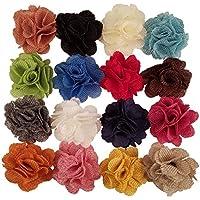 Flores de tela de arpillera para manualidades, diademas, o decoración. 16 unidades en varios colores.