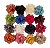 Fiori di stoffa iuta iuta per artigianato, fasce per capelli, decorazioni o–vari colori–16pezzi