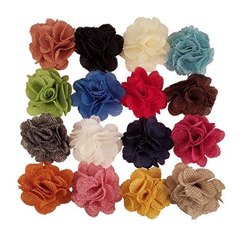 Flores de tela de arpillera para manualidades, diademas, o decoración