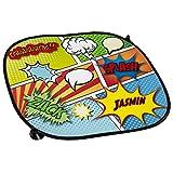 Auto-Sonnenschutz mit Namen Jasmin und buntem Comic-Motiv für Mädchen - Auto-Blendschutz - Sonnenblende - Sichtschutz