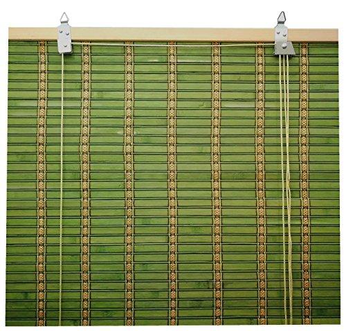Solagua 6 Modelos 14 Medidas de estores de bambú Cortina de Madera persiana Enrollable (150 x 175 cm, Verde)