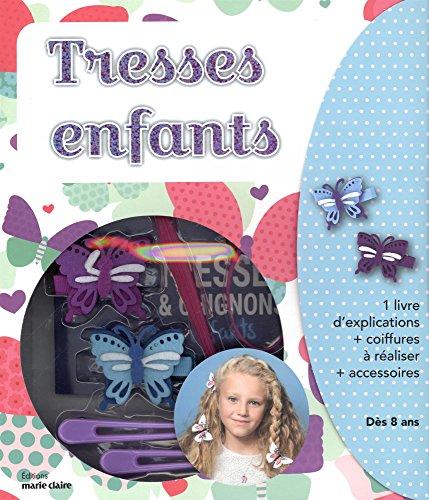 Coffret tresses enfants : Contient : 1 livre d'explications, 2 hair stick, 6 élastiques colorés, 6 épingles plates, 2 pinces crocodiles, 2 barettes papillons