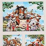 Cremefarbener Stoff mit lustigen Selfies Pferd Schwein von