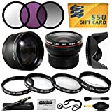 15 Piece Macro Fisheye Telephoto Lens Filters Set Includes 3 Piece Filter Kit (UV + CPL + Warming) + 4 Piece Close UP Kit (+1, +2, +4, 10x Macro) + .20x Professional Fish Eye Lens + 2.2x HD Telephoto + Hood + More For 40.5MM Sony 5000 A6000 NEX 6 6L 5T 5T