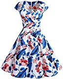 bbonlinedress 1950er Vintage Retro Cocktailkleid Rockabilly V-Ausschnitt Faltenrock RoyalBlue Flower 2XL