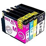 N.T.T.® 4x XL kompatible Tintenpatronen zu HP 932-XL 933-XL (1 Schwarz, 1 Cyan, 1 Magenta, 1 Yellow) Multipack für HP OfficeJet 6100, 6600, 6700, 7110, 7610, 7612